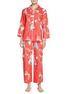 Sakura Two-Piece Floral-Print Pajama Set, Red-Orange   Sakura Two-Piece Floral-Print Pajama Set, Red-Orange