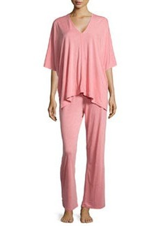 Shangri La Two-Piece Tunic Pajama Set, Red-Orange   Shangri La Two-Piece Tunic Pajama Set, Red-Orange