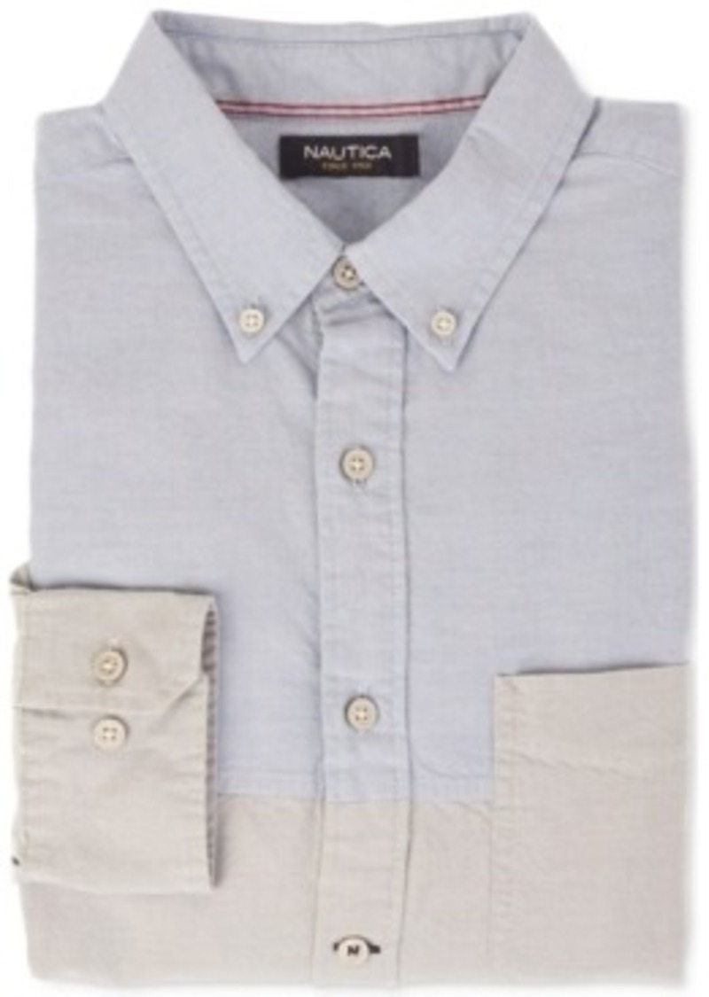 Nautica nautica colorblocked popover oxford shirt casual for Nautica shirts on sale