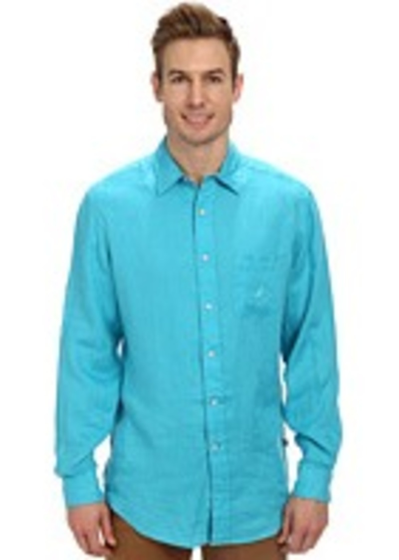 Nautica nautica l s solid linen casual shirts shop it for Nautica shirts on sale