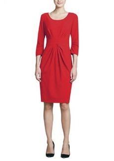Lafayette 148 New York 3/4-Sleeve Center-Pleated Dress
