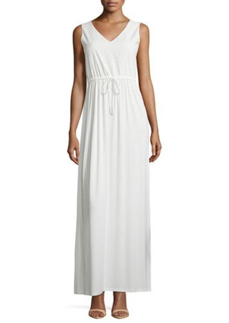 Neiman Marcus Neiman Marcus Eyelet Sleeveless Maxi Dress ...