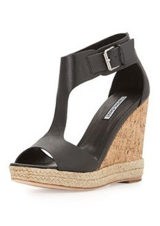 Charles David Olivia T-Strap Wedge Sandal, Black