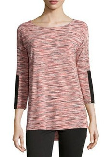 Joan Vass Republic Space-Dyed 3/4-Sleeve Blouse, Coral/Combo