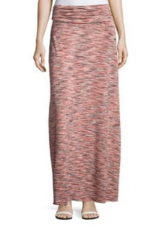Joan Vass Space-Dyed Ruched Maxi Skirt, Coral/Combo