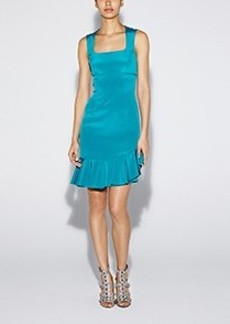 Asymmetrical Ruffle Crepe Dress