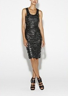 Embroidered Leather Dress