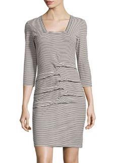 Nicole Miller 3/4 Sleeve Jersey Dress, Black/White