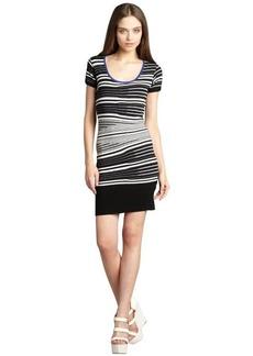 Nicole Miller Artelier black and white striped cap sleeve sweater dress