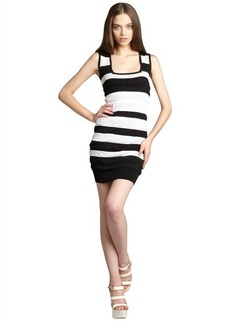 Nicole Miller Artelier black and white striped shirred overlay sweater dress