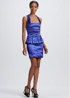 Nicole Miller Sleeveless Techno Metal Peplum Dress