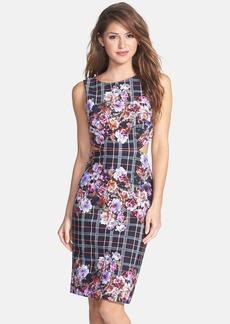 Nicole Miller Back Cutout Print Powernet Body-Con Dress