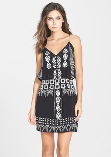 Nicole Miller Back Keyhole Embroidered Silk Blouson Dress