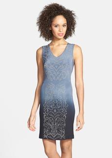 Nicole Miller Beaded Cutout Ombré Silk Sheath Dress