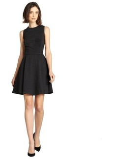 Nicole Miller black and charcoal striped ponte fit and flare dress