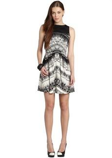 Nicole Miller black and white chevron batik fit n flare dress