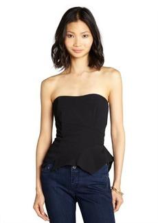 Nicole Miller black crepe strapless asymmetrical seam peplum top