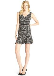Nicole Miller black lace print 'Reed'v-neck sleeveless dress