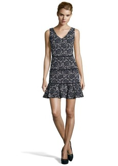 Nicole Miller black lace print stretch 'Reed' v-neck sleeveless dress