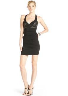Nicole Miller black leather mixed media 'Addison' sleeveless dress