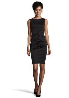 Nicole Miller black ponte knit ruched front sleeveless sheath dress