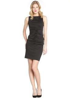 Nicole Miller black ponte ruched front sleeveless dress