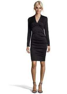 Nicole Miller black ponte stretch knit v-neck long sleeve dress