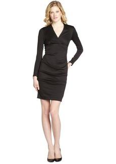 Nicole Miller black ponte v-neck stretch long sleeve dress