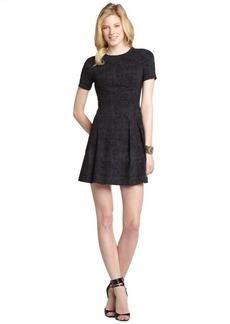 Nicole Miller black printed stretch pleated dress