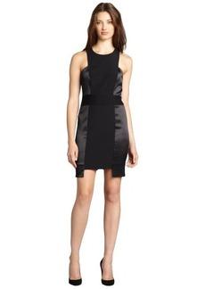 Nicole Miller black shined contrast sleeveless cutout stretch crepe dress