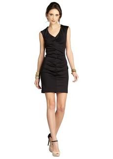 Nicole Miller black sleeveless rouched V-neck evening dress