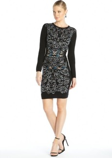 Nicole Miller black spaced dyed knit baroque long sleeve sweater dress