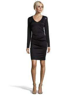 Nicole Miller black stretch ponte knit sequin shoulder long sleeve v-neck dress
