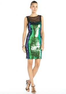 Nicole Miller blue and green stretch scale sequined illusion neckline dress