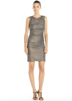 Nicole Miller blue and rose gold metallic stretch knit 'Gilded Fleece' dress