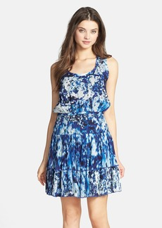 Nicole Miller 'Blue Lagoon' Print Fit & Flare Dress