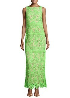 Nicole Miller Boat-Neck Floral Lace Dress, Neon Green