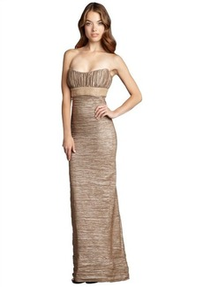 Nicole Miller champagne metallic crinkled strapless embellished gown