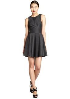 Nicole Miller charcoal jersey knit v-back sleeveless a-line dress
