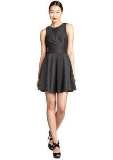 Nicole Miller charcoal jersey knit v-back sleeveless a-line dress