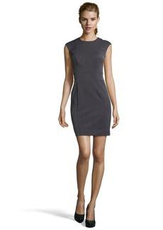 Nicole Miller charcoal stretch 'Grenada' twill cap sleeves dress
