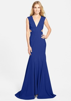 Nicole Miller Cutout Crepe Mermaid Gown