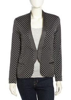 Nicole Miller Diamond-Knit Tailored Blazer, Black/White