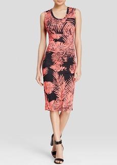 Nicole Miller Dress - Dakota Palm Print Pleated Matte Jersey