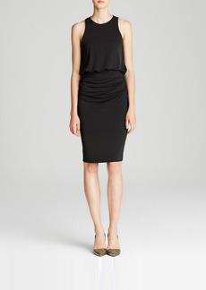 Nicole Miller Dress - Sleeveless High Neck Drape Skirt Open Back Sheath