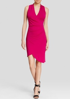 Nicole Miller Dress - Stefanie V-Neck Stretch Crepe Asymmetric Hem