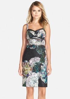 Nicole Miller Embellished Floral Print Scuba Backed Lace Sheath Dress