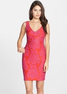 Nicole Miller Embroidered Neoprene Sheath Dress