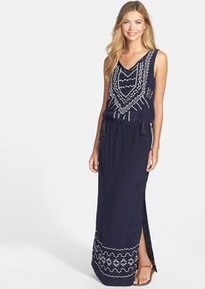 Nicole Miller Embroidered Silk Maxi Dress