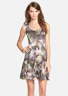Nicole Miller Floral Print Fit & Flare Dress